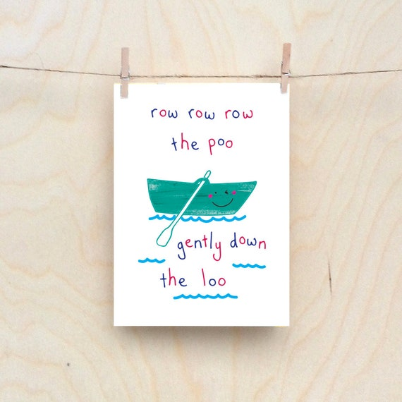 Row, row, row the poo card, Rude kids cards, Silly Children's cards, Toddler rude words card, funny kids card. funny birthday card.
