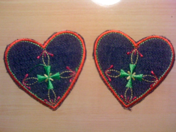 Two Denim Hearts with Iron Cross Iron On Appliques A13