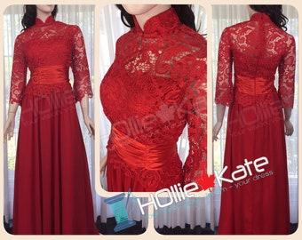 Chinese wedding dress, red cheongsam dress, red lace dress, red qipao dress