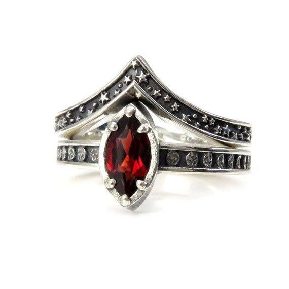 Sterling Silver Garnet Moon and Stars Engagement Ring Set - Pick your Center Stone