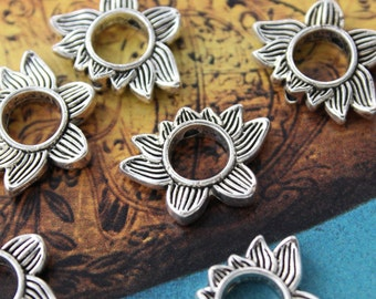 Bulk 40 Lotus Flower charms Antiqued Tibetan Silver Doubled sided 19 x 14 mm