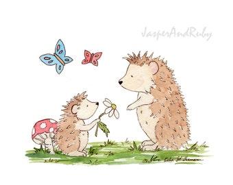 Hedgehog Nursery Art, Woodland Nursery Art, Forest Nursery Art, Children's Art, Kid's Room Decor, Nursery Decor, Watercolor Baby Shower Gift