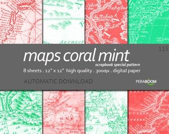 Maps digital background Maps scrapbook paper Maps digital paper Digital Paper Printables Mint background Coral background - 115 Maps