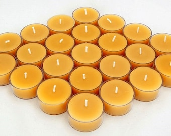 25 pack of Hand Poured Pure Australian Beeswax Tea Light Candles