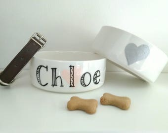 Personalised Ceramic Handpainted Cat Dog Bowl Feeder Dish.Pink,Blue,Gold,Silver,Heart,Star.