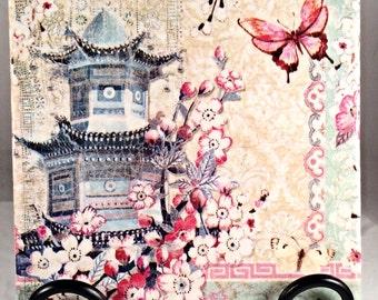 Chinese Collage Haiku Blossoms-Pagoda & Cherry Blossom Trivet ( hot plate holder )