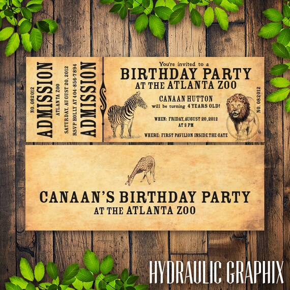 Zoo birthday party invitation printable zoo ticket stopboris Choice Image