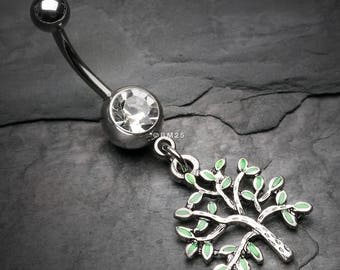Vintage Leafy Tree of Life Belly Button Ring