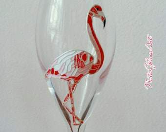 Flamingo Champagne flutes, set of 6 hand painted wine glasses
