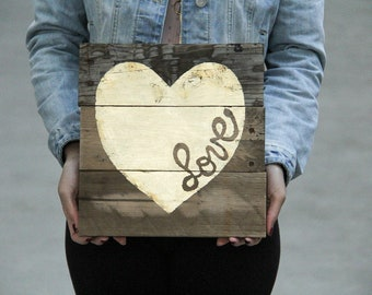 """Ready to Ship // Metallic Gold Leaf """"Love"""" Heart Pallet Wood Sign / Nursery Gift / Housewarming / Gallery Wall"""