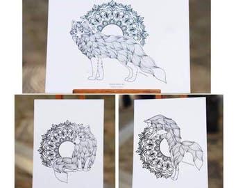 Set of 3 postcards Kitsune & Mandalas