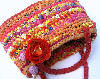 Fabric Crocheted P U R S E ... eco-friendly...OOAK