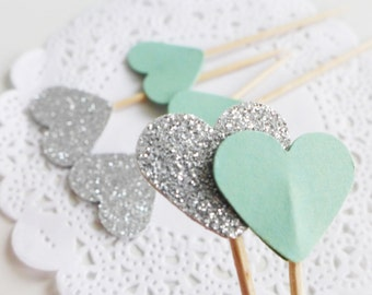 Silver and Mint Cupcake Toppers, Baby Shower Party Picks, Heart Toothpicks, Birthday Party Food Picks, Mint Green Wedding