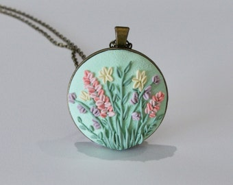 Floral Polymer Clay Applique Pendant