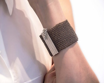 Statement cuff bracelet, Wire crochet bracelat, Wide Cuff Bracelet, Silver Cuff Bangle, Woven metal jewelry, Gift for her, Passover gift