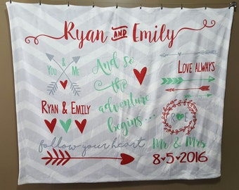 Personalized Wedding Blanket, Personalized Blanket, Custom Wedding Blanket, Monogrammed Throw, Gift for Couples, Personalized Wedding Gift