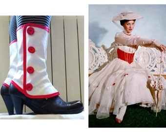 Mary Poppins Medium white spats waterproof cosplay Gaiters