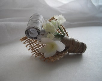 Party Blower Boutonniere As seen at Martha Stewart Wedding Party Burlap Wedding Groom Party Blower Handmade Ready To Ship by handcraftusa