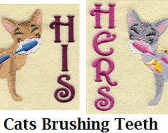 His and Hers Towel Set - Cats Brushing Teeth