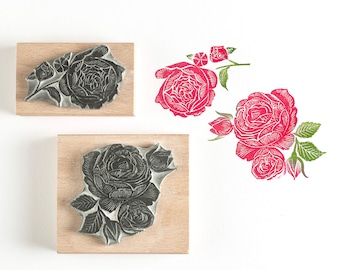 Valentine's Rose Rubber Stamps, Handmade Roses Rubber Stamp, Rose Rubber Stamp, Flower Stamp, Red Rose Stamp