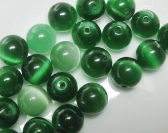 Green  Glass Cats eye 10mm beads x 10 destash
