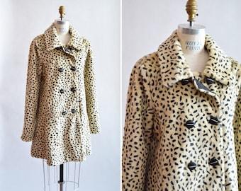 Vintage 1980s faux LEOPARD fur coat