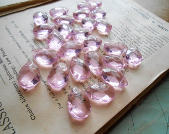 4 pc baby pink clear faceted tear drop beads bead lot jewelry making cheap bead destash faceted pink