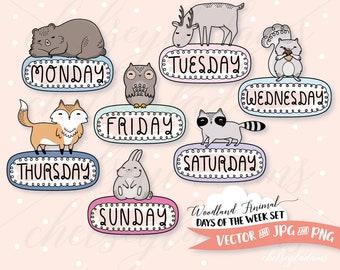 Woodland Animal Days of the Week Clip Art Set, DIY Planner Stickers, Vector Digital Stamps, Cute Bear, Fox, Owl, Kawaii Graphics, Raccoon