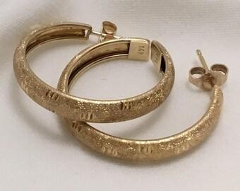14ktgold one inch hoop earrings