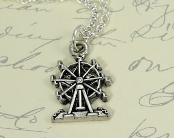 Ferris Wheel Necklace, Silver Ferris Wheel Charm on a Silver Cable Chain