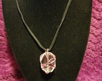 Handmade wire wrapped crystal necklace