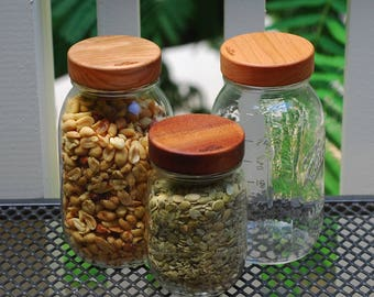 3 Wooden Mason Jar Lids with Seal -  True screw top - Regular Mouth - Your Choice of Wood
