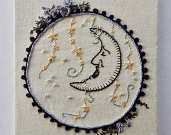 Victorian Sleeping Moon * Needle Art Moon and Strings of Stars * Hand Embroidered * One of a Kind
