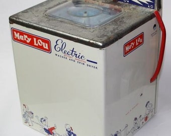 Mary Lou Electric Vintage Metal Toy Washing Machine With Box Memorabilia RARE