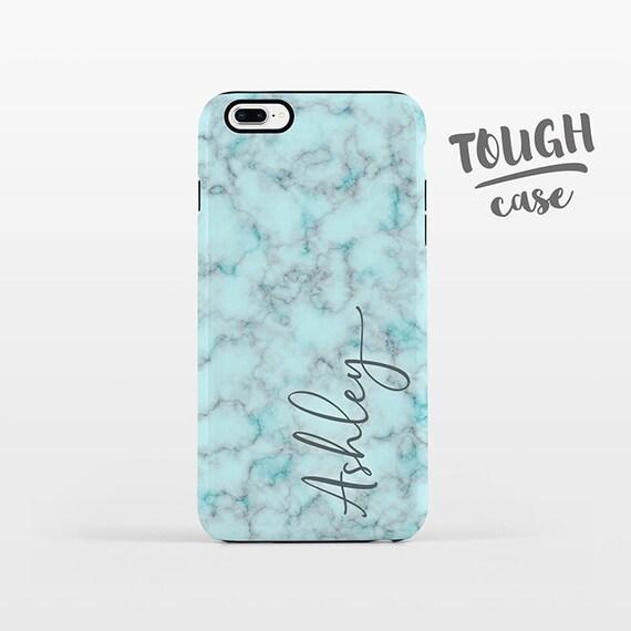 Marble NAME Custom iPhone Case Personalized iPhone 8 Plus Case iPhone X Case iPhone 7 Case iPhone 6 Plus iPhone 6s Aqua Phone Case TOUGH