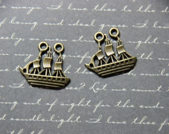 Set of 2 metal bronze color 25x22mm sailing boat charms