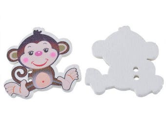 5 large buttons baby monkey - 2 holes - 28x29mm