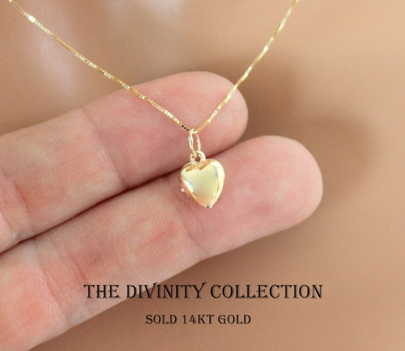 Yellow gold 14kt heart pendant necklace women girls small aloadofball