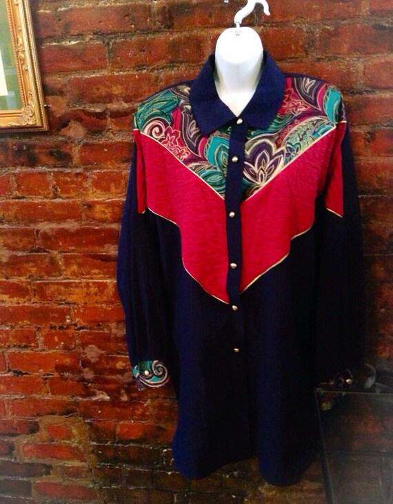 Vintage glitzy & boldly stylish 80's oversized long shirt blouse