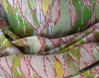 Handprinted Silk scarf, Sari scarf, Green Scarf