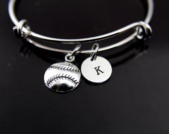 Baseball Bangle Baseball Bracelet Softball Bangle Silver Softball Charm Bangle Softball Mom Gift Baseball Bracelet Personalized Bracelet