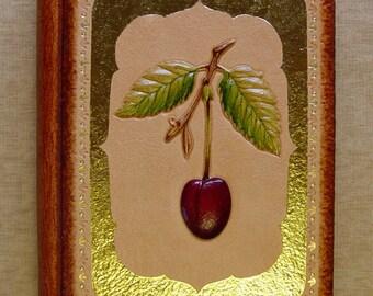 Handmade Leather Notebook Journal Sketchbook Cherry