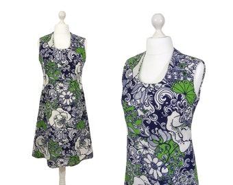 Blumendruck 60er Jahre Sonne Kleid | Marineblau und Apfelgrün 1960 Vintage Sommerkleid | Gemusterten Kleid | Mittelgroß