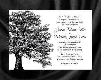 Wedding Invitation. Oak Tree Wedding Invitation & RSVP. Oak Tree Invitation- Tree Design 34