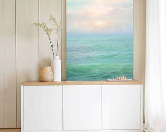 Sea print Extra large wall art Abstract Ocean print Seascape photography Pastel Sunrise Abstract art print Calming Mint wall art clouds