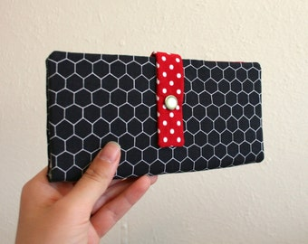 Honeycomb - Black and Red - Long Wallet Clutch - Card Slots, Zipper, Cash