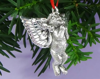 Kitten Angel Silver Ornament, Sterling Silver Cat Ornament, Cat Lover Gift, Angel Kitten Christmas Ornament, Handmade Fine Cat Collectible