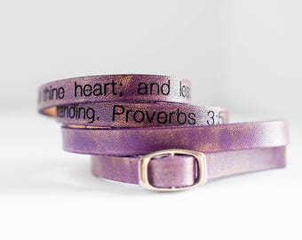 Proverbs 3:5 Ultra Long Carved Bible Verse Leather Wrap Bracelet -