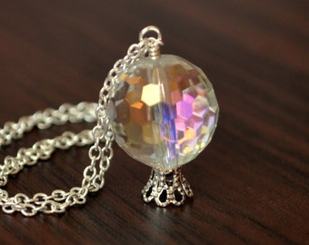Crystal Ball Necklace, Silver Plated Chain, Wire Wrapped, Large Pendant, Gypsy, Mystic Crystal Quartz, Halloween, Gemstone Jewelry