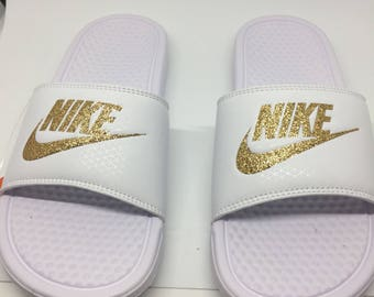 Custom White Nike Slides Sandals with Gold Glitter Sparkling Logo